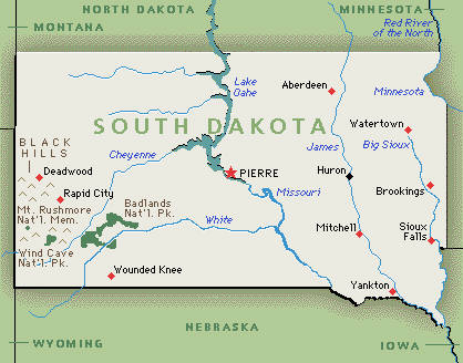 South dakota state map including all cities