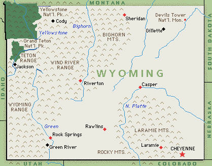 Wyoming WY DJs Photographers Videographers - Wyoming map with cities